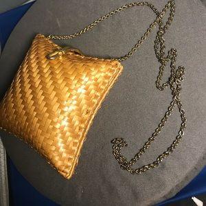 vintage rodo purse golden brown shellacked wicker